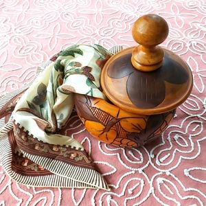 Hand carved wooden dish w/lid